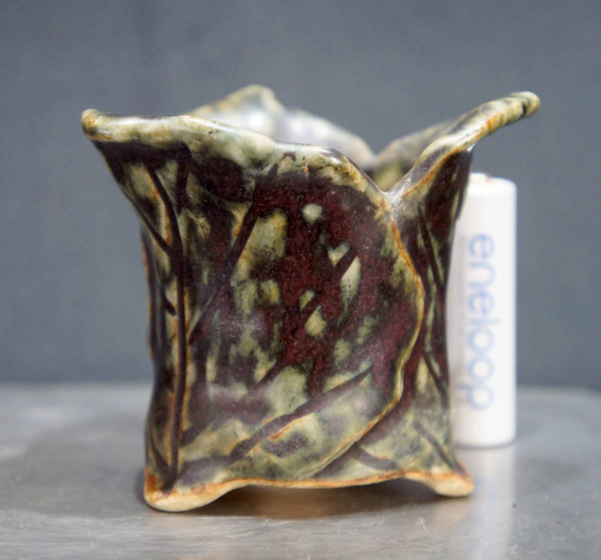 茶山 盆栽鉢 奥行7.5cm 横幅7.5cm 高さ6.5cm