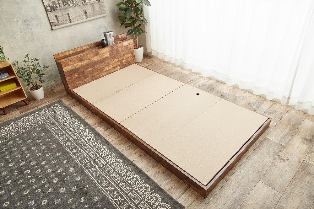 【Cave】セミダブル 寄木柄ベッド 高品質マットレス付き_画像6