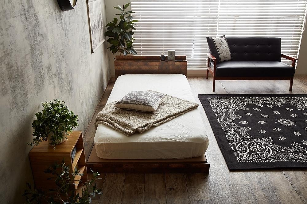 【Cave】セミダブル 寄木柄ベッド 高品質マットレス付き_画像2