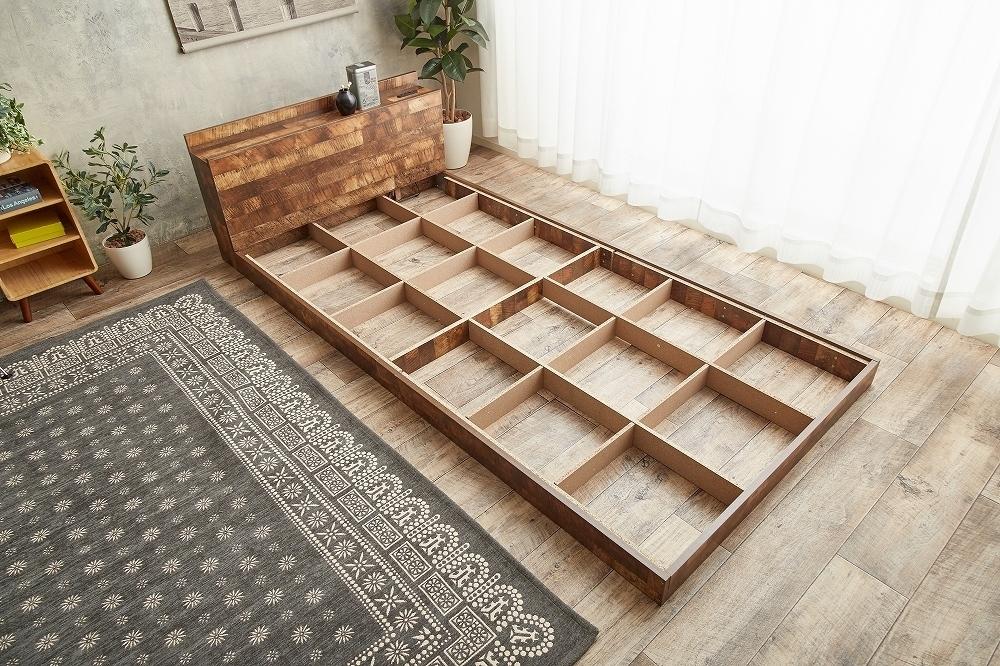 【Cave】セミダブル 寄木柄ベッド 高品質マットレス付き_画像5