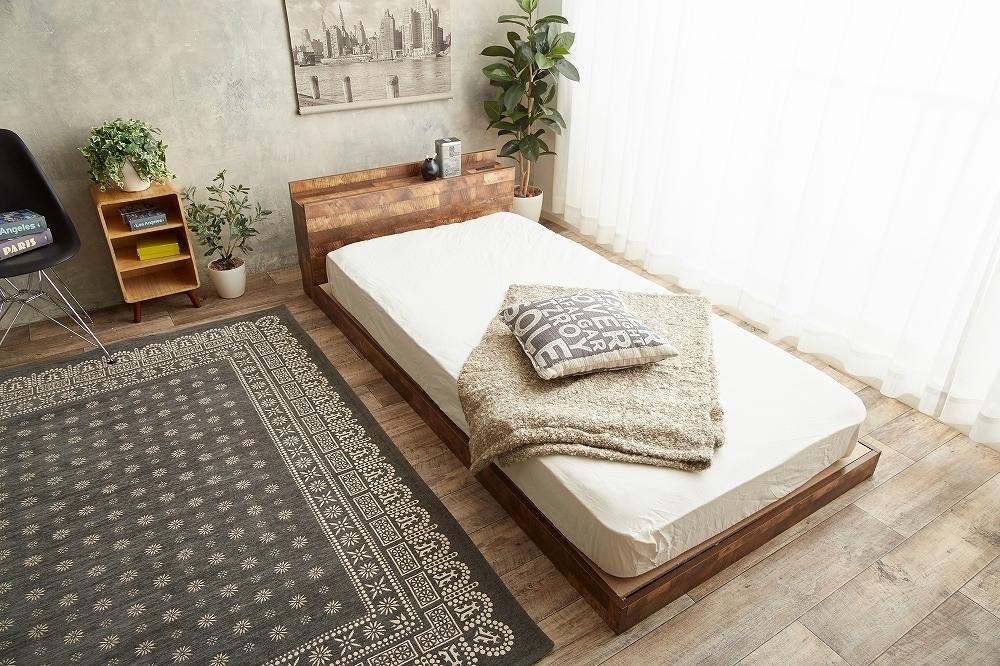 【Cave】セミダブル 寄木柄ベッド 高品質マットレス付き_画像7