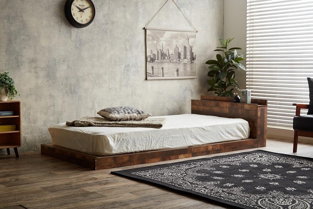 【Cave】セミダブル 寄木柄ベッド 高品質マットレス付き_画像9