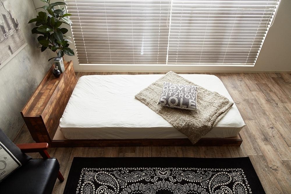 【Cave】セミダブル 寄木柄ベッド 高品質マットレス付き_画像8