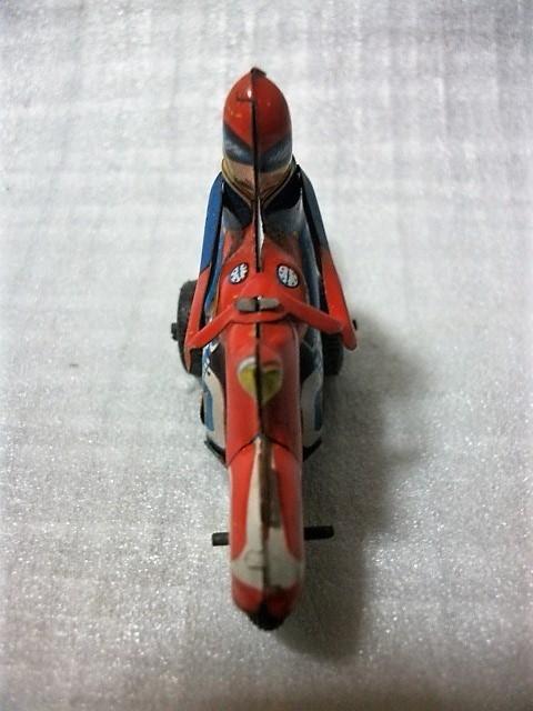 古猫】古いブリキのバイク●ゼンマイ式●91×27×高56㎜●昭和レトロ 輸出用玩具 MADE IN JAPAN 日本製_画像6