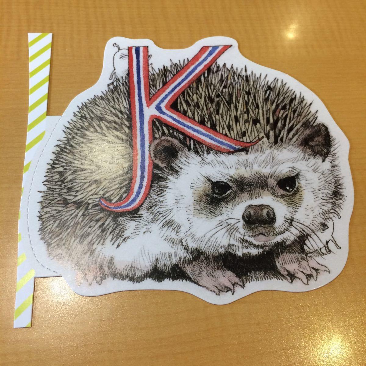 ヒグチユウコ 型抜きポストカード K アルファベット 葉書 ハガキ はがき メッセージカード ネコ 猫 ねこ 動物 イニシャル_画像1