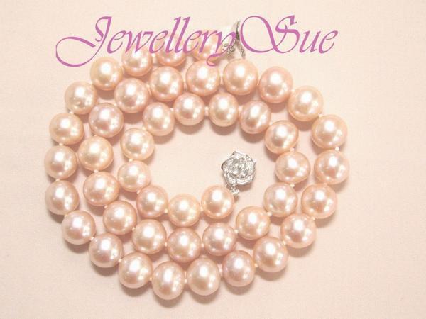 本真珠♪【日本製】 sv668p贅沢な大粒♪天然淡水真珠/サーモンピンクパールネックレス_画像3