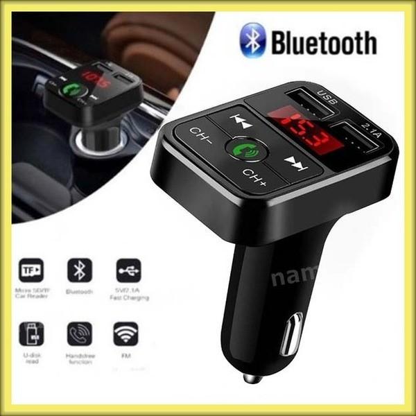 FMトランスミッター bluetooth ワイヤレス ハンズフリー 音楽再生 USB 充電器 二台同時 ハンズフリースマホ iPhone アンドロイド SDカード