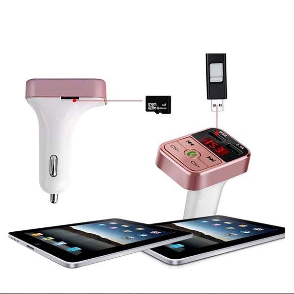 FMトランスミッター bluetooth ワイヤレス ハンズフリー 音楽再生 USB 充電器 二台同時 ハンズフリースマホ iPhone アンドロイド SDカード_画像2