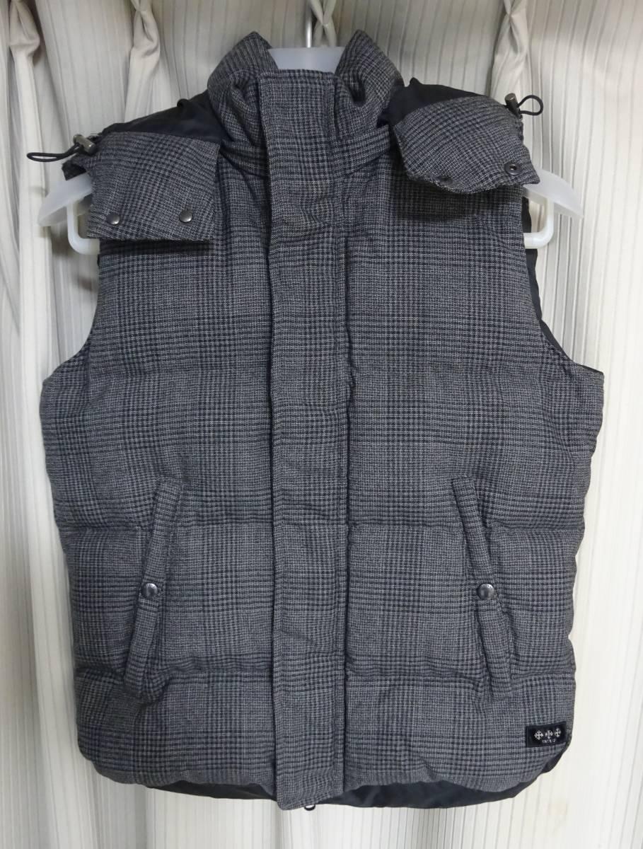 タトラス*ANSER グレンチェック ウール・レーヨン生地 ダウン ベスト ジャケット メンズ 01 グレー 国内正規品_画像1