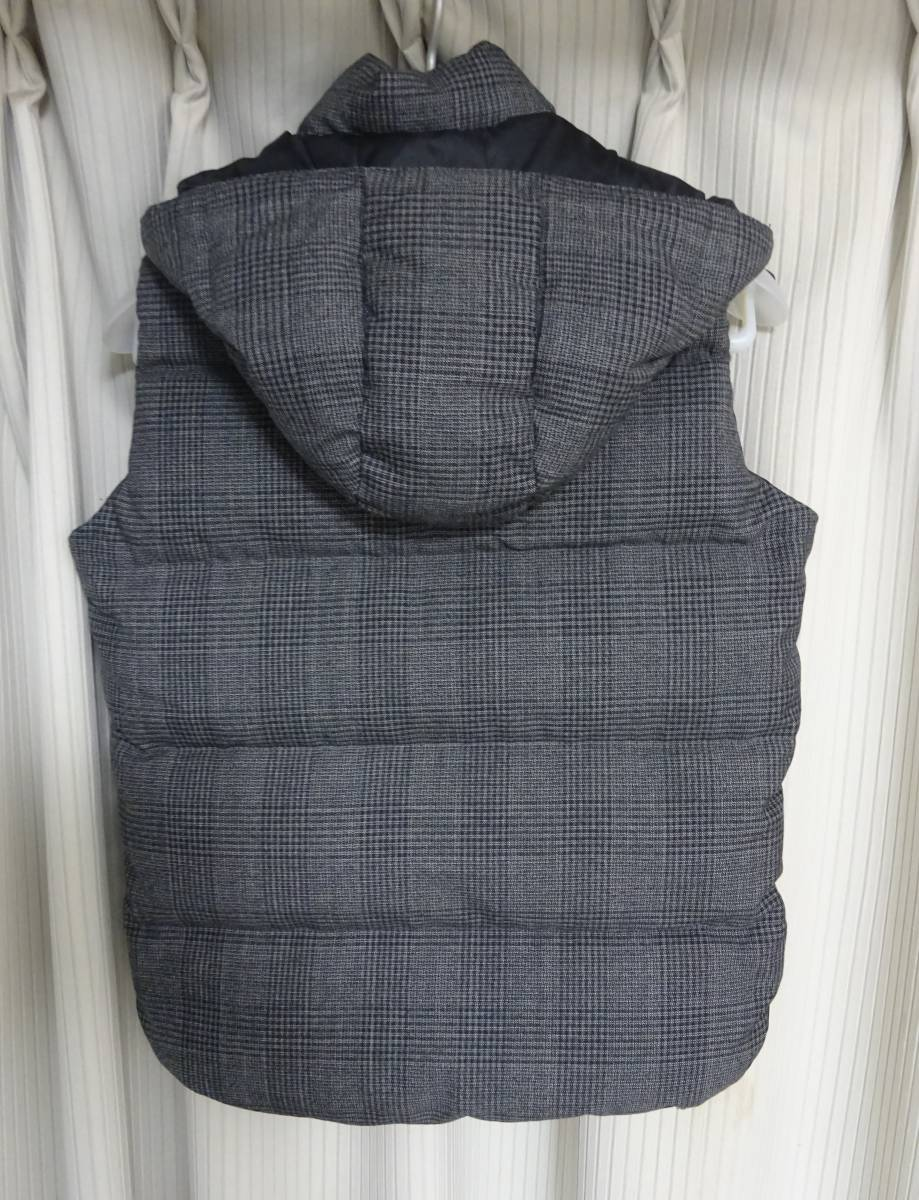 タトラス*ANSER グレンチェック ウール・レーヨン生地 ダウン ベスト ジャケット メンズ 01 グレー 国内正規品_画像2