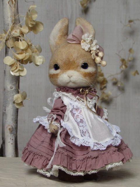 ウサギ 羊毛フェルト ハンドメイド pink dress_画像3