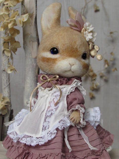 ウサギ 羊毛フェルト ハンドメイド pink dress_画像6