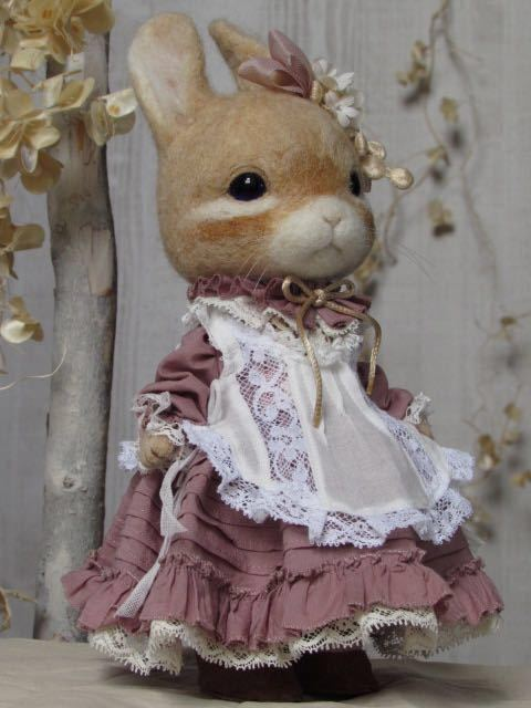ウサギ 羊毛フェルト ハンドメイド pink dress_画像4