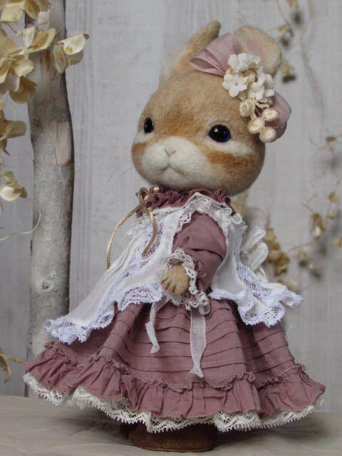 ウサギ 羊毛フェルト ハンドメイド pink dress_画像2