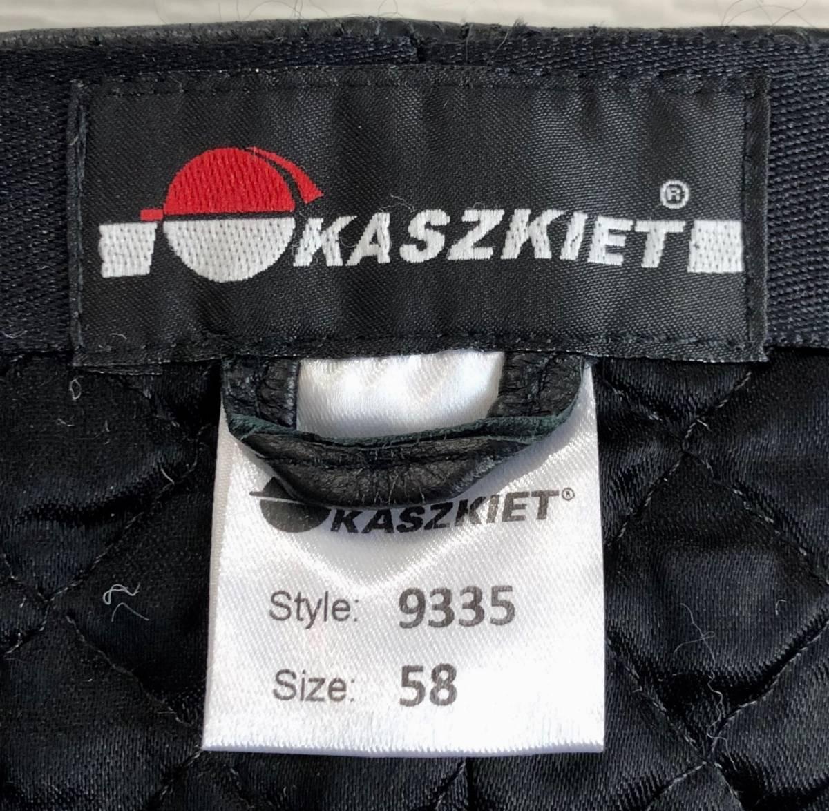 希少KASZKIET×Harris Tweedダブルネーム別注ハリスツイード黒レザー革パイピング切替ハンティングキャップ58cm内キルティング裏地6パネル_「ML」サイズ相当です。