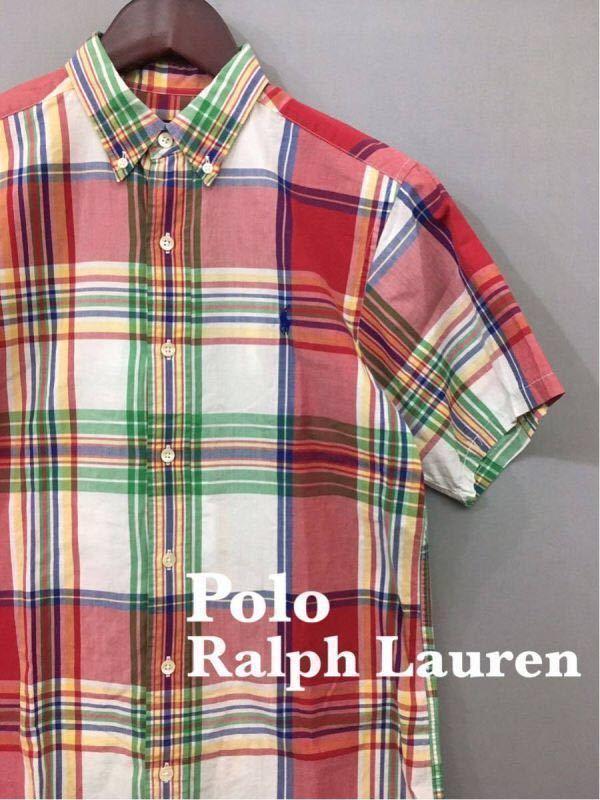 ポロ ラルフローレン 半袖 ボタンダウンシャツ チェック柄 メンズ ジュニア Polo Ralph Lauren ◎■_画像1