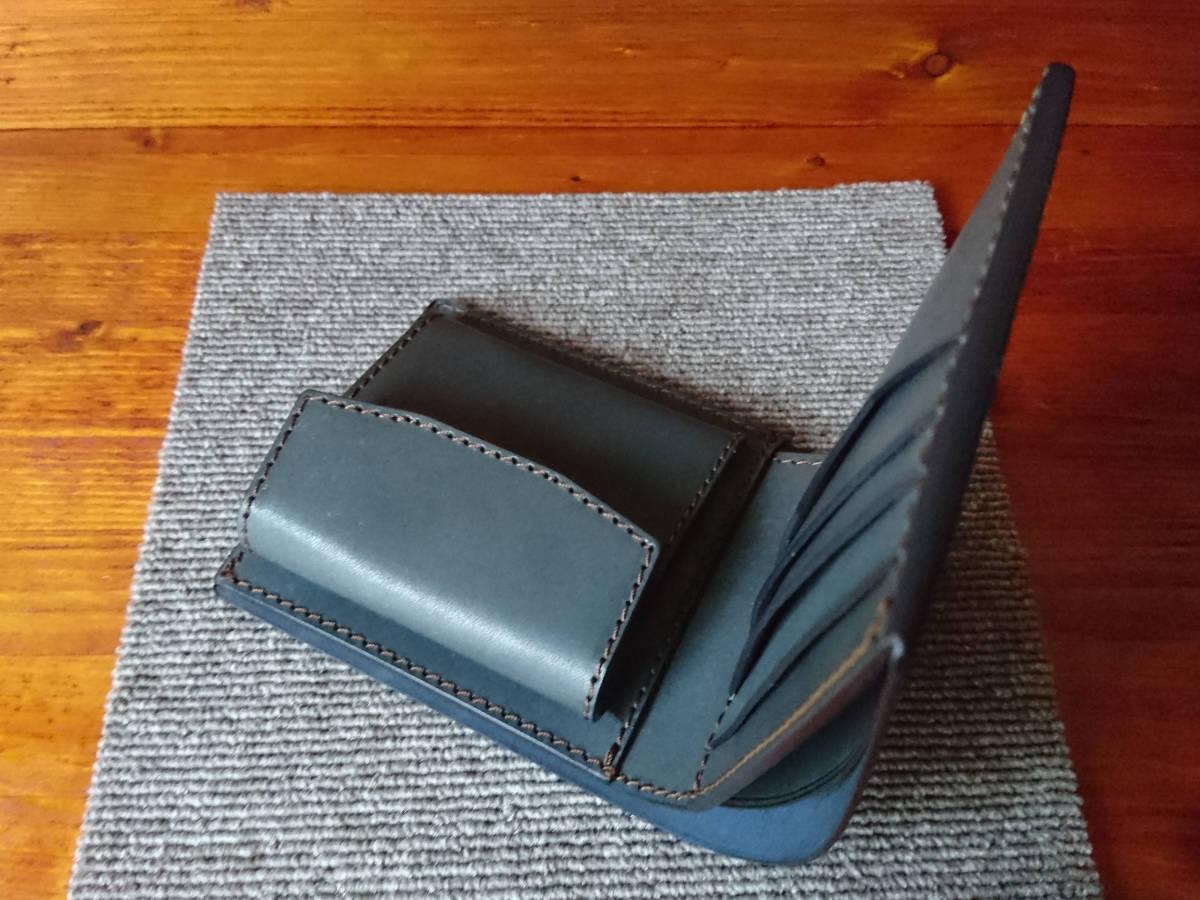 新喜皮革コードバン×牛ヌメ革タンニン鞣し・手作り・ハンドメイド・二つ折り財布 ネイビー×薄縹色_画像7