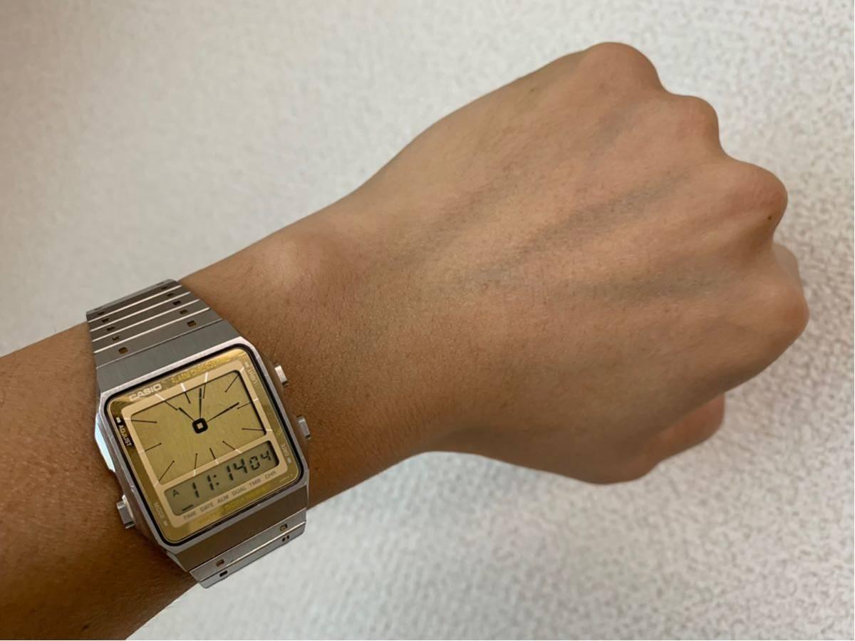 ★ CASIO カシオ AE-90W 187 腕時計 稼動品 デジタル アナログ レア シルバー 金色 黄 ステンレス ビンテージ 美品 希少 ★_画像3