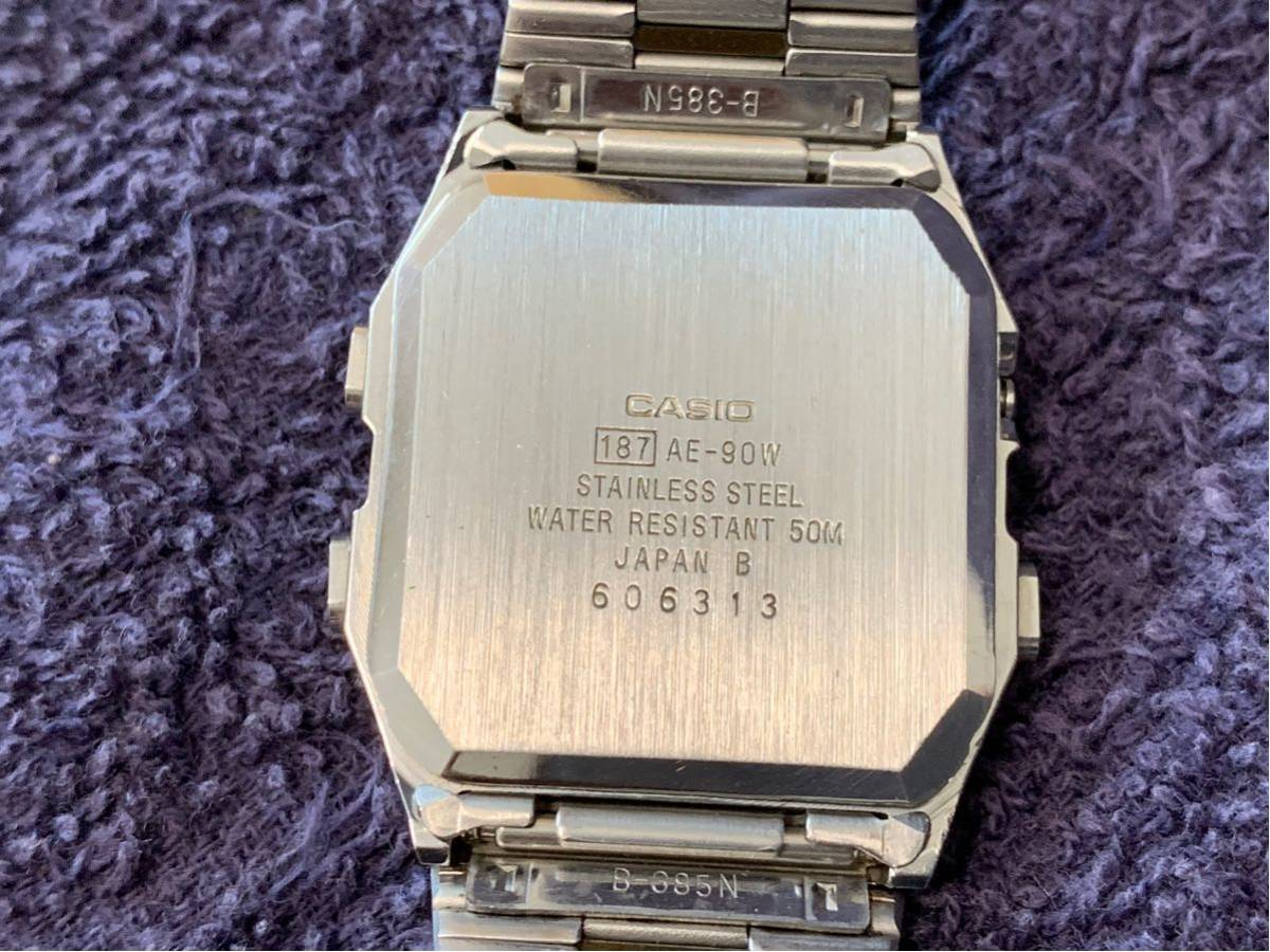 ★ CASIO カシオ AE-90W 187 腕時計 稼動品 デジタル アナログ レア シルバー 金色 黄 ステンレス ビンテージ 美品 希少 ★_画像7