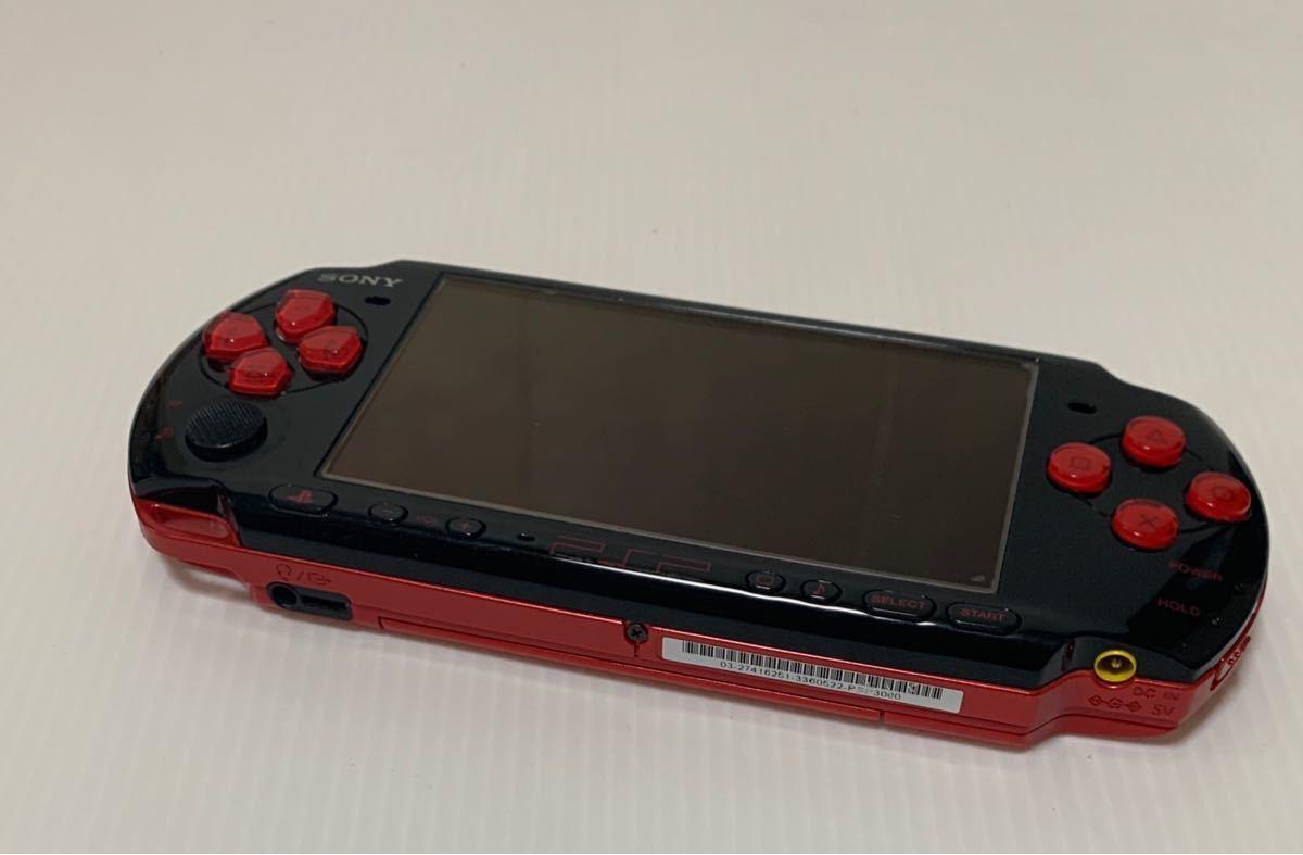 希少カラー 液晶美品 PSP-3000XBR ブラック レッド モンスターハンター 新米ハンターズパック 付属品 完品 動作良好 ソニー 1円スタート_画像3