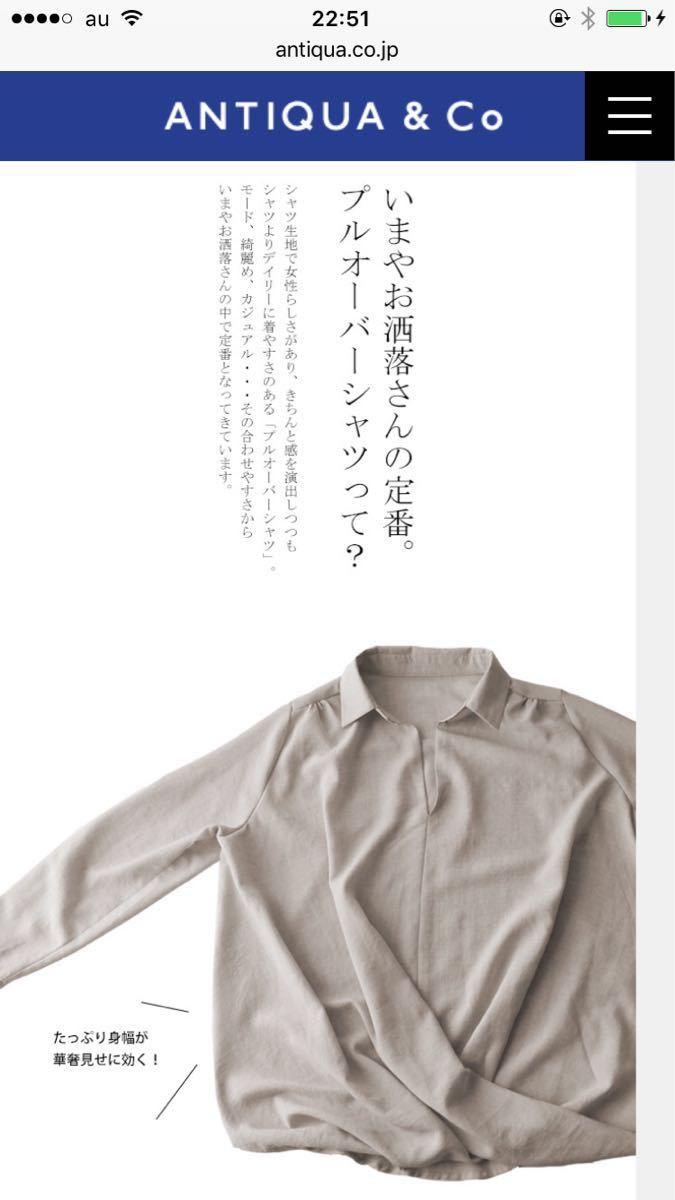 """新品タグ付き・アンティカantiqua・『シャツの枠を超えた、予想外のデザイン。』頼れる""""ワザあり""""。プルオーバーバルーンシャツ_画像6"""