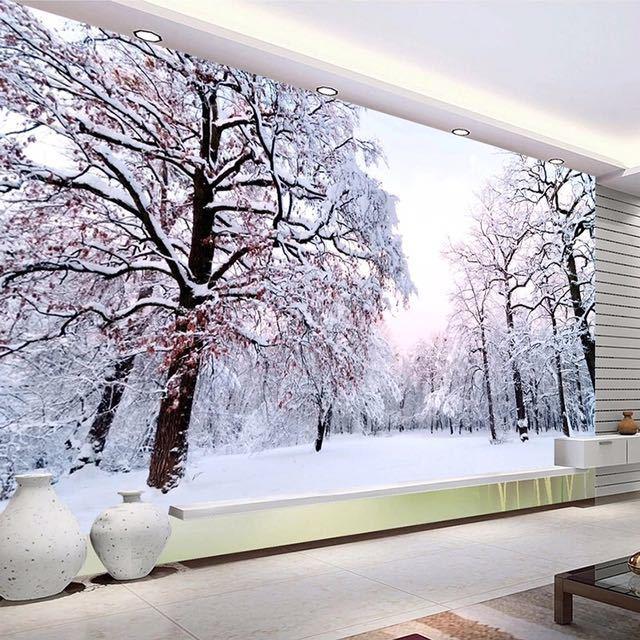 カスタム 3D 壁紙家の装飾雪の風景森大壁画アート壁画のリビングルームのベッドルームの背景の写真の壁紙_画像4