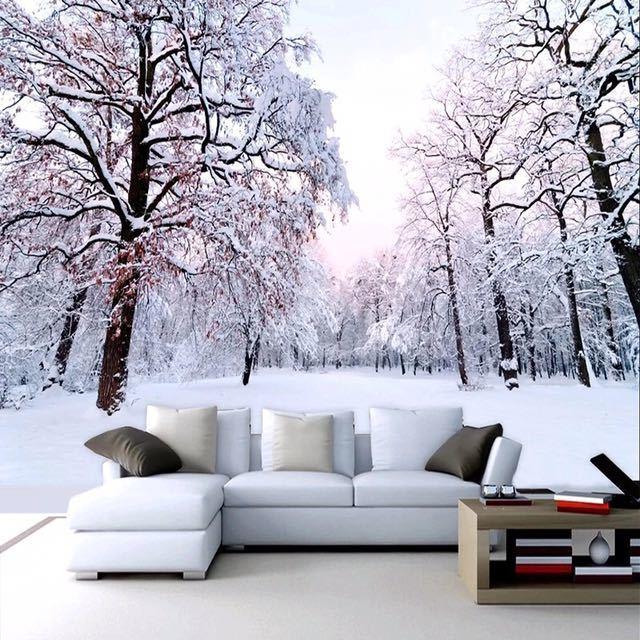 カスタム 3D 壁紙家の装飾雪の風景森大壁画アート壁画のリビングルームのベッドルームの背景の写真の壁紙_画像3