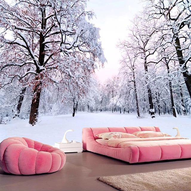 カスタム 3D 壁紙家の装飾雪の風景森大壁画アート壁画のリビングルームのベッドルームの背景の写真の壁紙_画像1