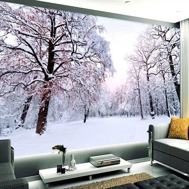 カスタム 3D 壁紙家の装飾雪の風景森大壁画アート壁画のリビングルームのベッドルームの背景の写真の壁紙_画像2