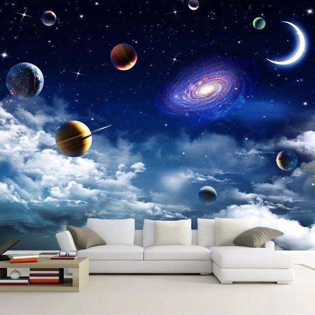 カスタムサイズ宇宙星空 3D 写真の壁紙リビングルームベッドルームのテレビの背景天井の装飾壁壁画 Papel デ parede_画像3