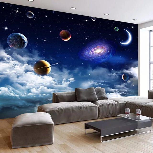 カスタムサイズ宇宙星空 3D 写真の壁紙リビングルームベッドルームのテレビの背景天井の装飾壁壁画 Papel デ parede_画像2