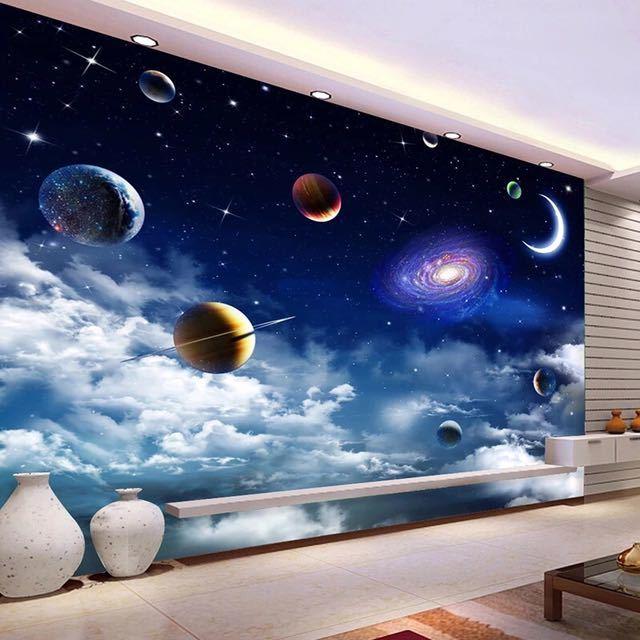 カスタムサイズ宇宙星空 3D 写真の壁紙リビングルームベッドルームのテレビの背景天井の装飾壁壁画 Papel デ parede_画像4