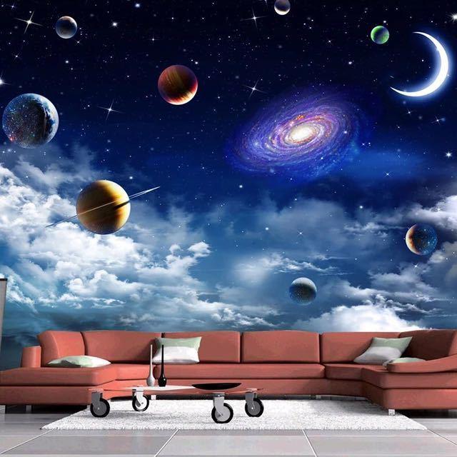 カスタムサイズ宇宙星空 3D 写真の壁紙リビングルームベッドルームのテレビの背景天井の装飾壁壁画 Papel デ parede_画像1