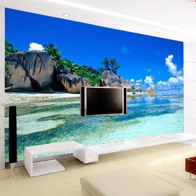 カスタム 3D 壁画壁紙不織布寝室の Livig ルームのテレビソファの背景の壁紙オーシャン海ビーチ 3D 写真壁紙家の装飾_画像3