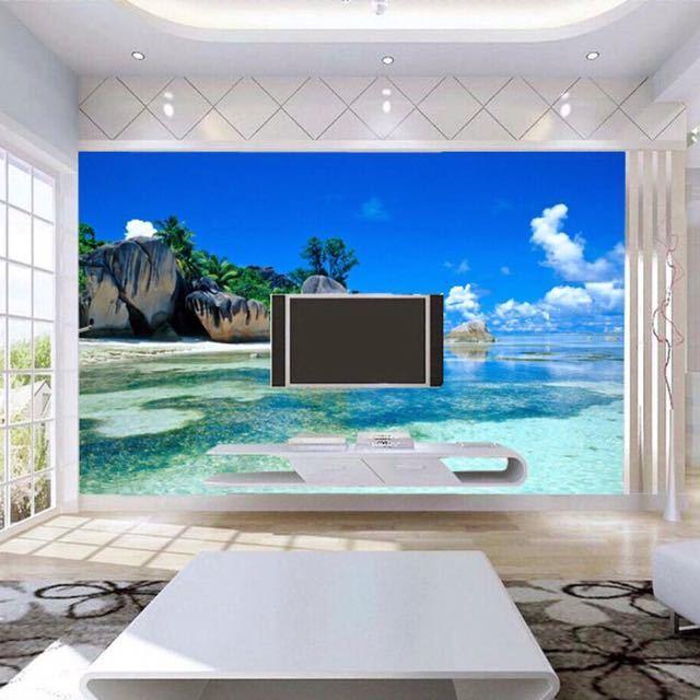 カスタム 3D 壁画壁紙不織布寝室の Livig ルームのテレビソファの背景の壁紙オーシャン海ビーチ 3D 写真壁紙家の装飾_画像4