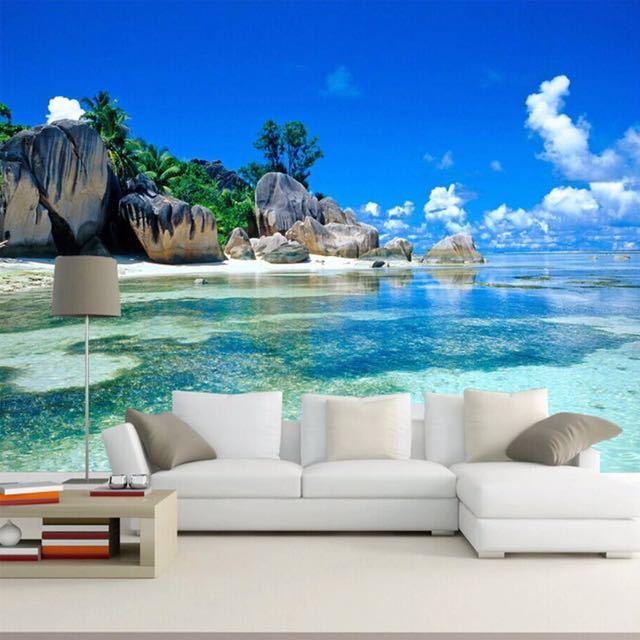 カスタム 3D 壁画壁紙不織布寝室の Livig ルームのテレビソファの背景の壁紙オーシャン海ビーチ 3D 写真壁紙家の装飾_画像1