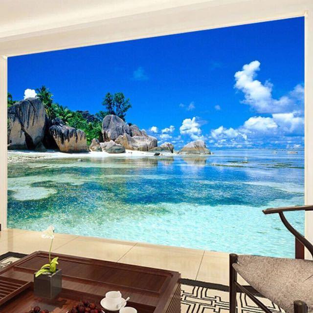 カスタム 3D 壁画壁紙不織布寝室の Livig ルームのテレビソファの背景の壁紙オーシャン海ビーチ 3D 写真壁紙家の装飾_画像2