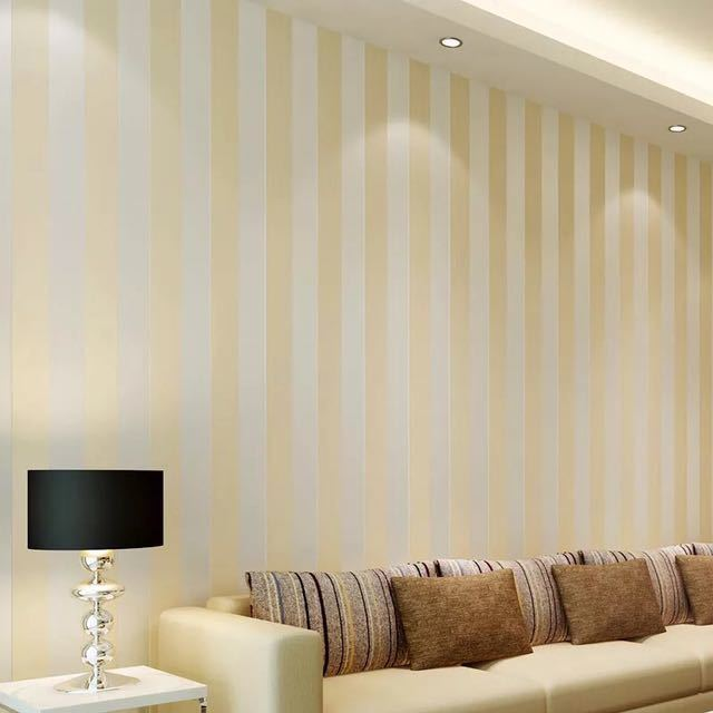 モダンなスタイルグリッターシルバーストライプ不織布壁紙壁装材リビングベッドルーム壁の装飾 Papel デ Parede ベージュ白_画像1