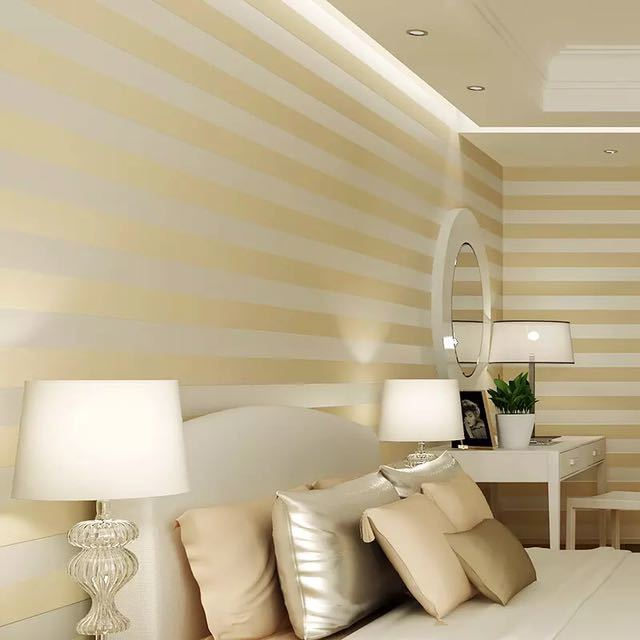 モダンなスタイルグリッターシルバーストライプ不織布壁紙壁装材リビングベッドルーム壁の装飾 Papel デ Parede ベージュ白_画像3