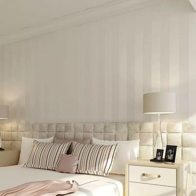 モダンなスタイルグリッターシルバーストライプ不織布壁紙壁装材リビングベッドルーム壁の装飾 Papel デ Parede ベージュ白_画像2