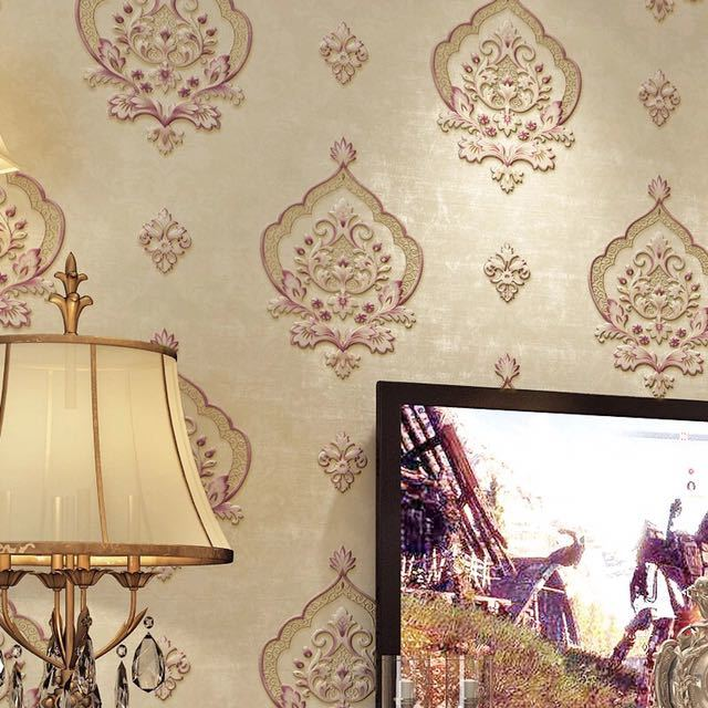 モダンレトロヨーロッパスタイルダマスク不織布壁紙 3D エンボス加工ウォールペーパーロール寝室の背景装飾_画像2