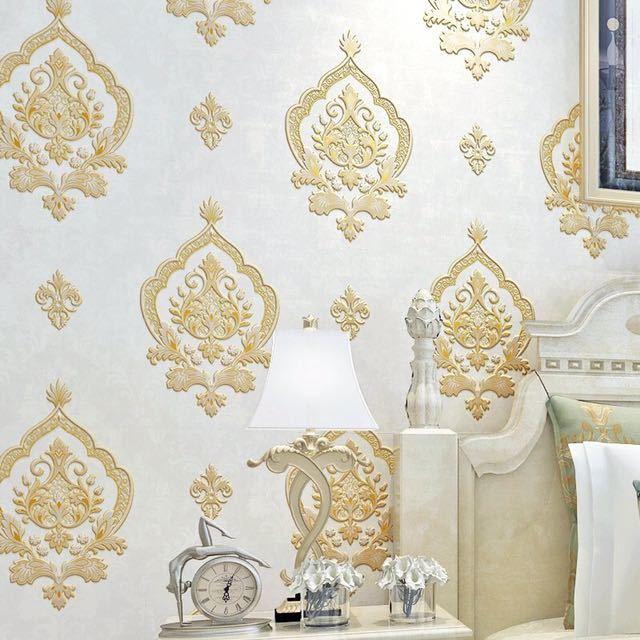 モダンレトロヨーロッパスタイルダマスク不織布壁紙 3D エンボス加工ウォールペーパーロール寝室の背景装飾_画像5