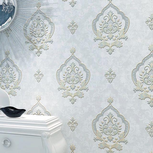 モダンレトロヨーロッパスタイルダマスク不織布壁紙 3D エンボス加工ウォールペーパーロール寝室の背景装飾_画像4