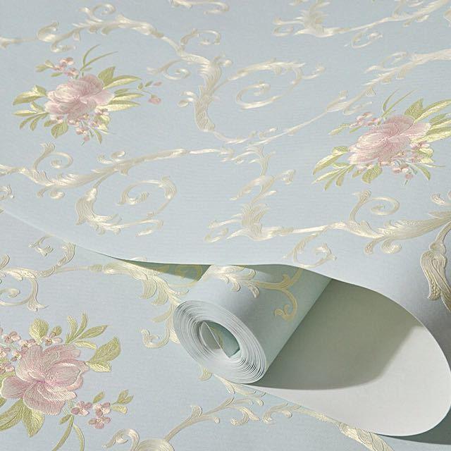 3D 立体花牧歌不織布肥厚壁紙壁装材ロール壁の論文の家の装飾リビングルームの寝室の壁_画像4