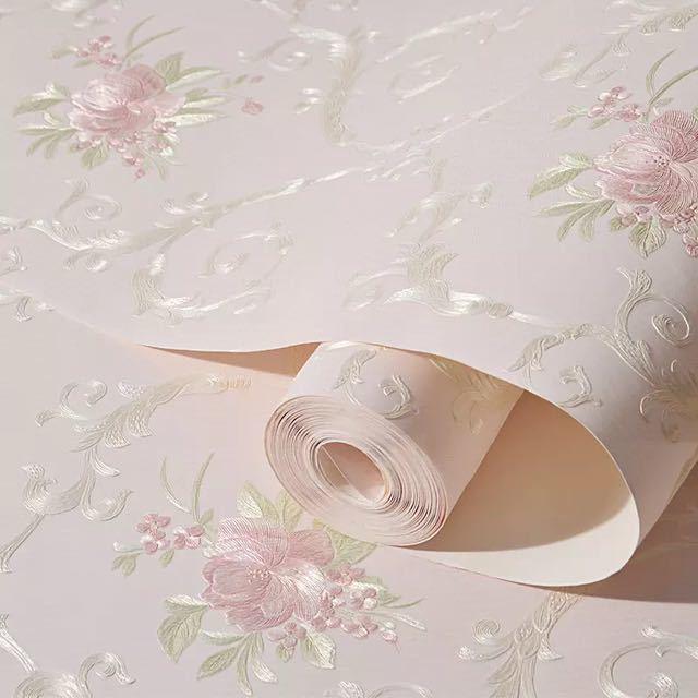3D 立体花牧歌不織布肥厚壁紙壁装材ロール壁の論文の家の装飾リビングルームの寝室の壁_画像3