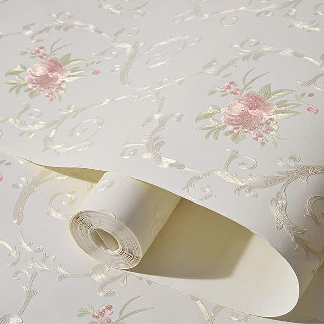 3D 立体花牧歌不織布肥厚壁紙壁装材ロール壁の論文の家の装飾リビングルームの寝室の壁_画像1