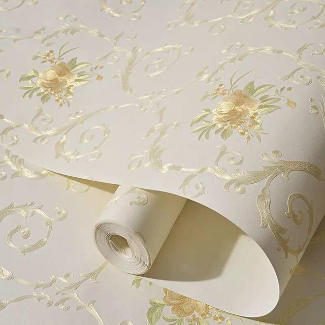 3D 立体花牧歌不織布肥厚壁紙壁装材ロール壁の論文の家の装飾リビングルームの寝室の壁_画像2