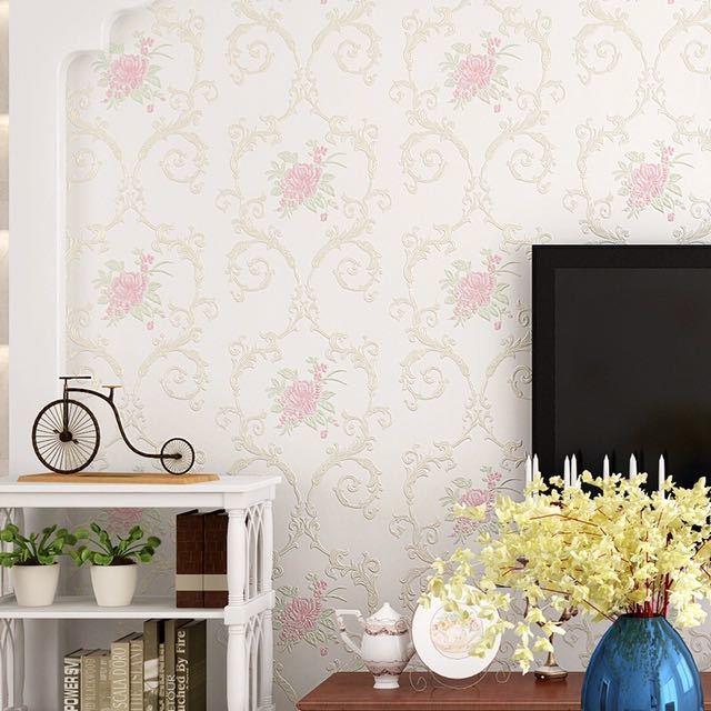 3D 立体花牧歌不織布肥厚壁紙壁装材ロール壁の論文の家の装飾リビングルームの寝室の壁_画像6