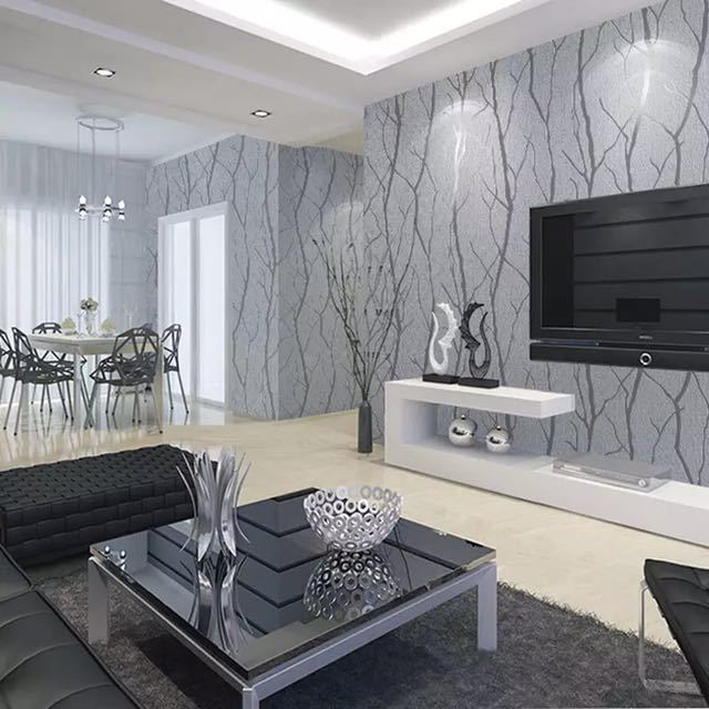 現代のミニマリストのファッション不織布壁紙ロール 3D エンボス加工支店ストライプ壁紙リビングルームのテレビのソファの背景壁_画像2