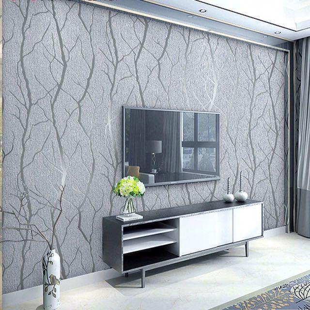 現代のミニマリストのファッション不織布壁紙ロール 3D エンボス加工支店ストライプ壁紙リビングルームのテレビのソファの背景壁_画像1